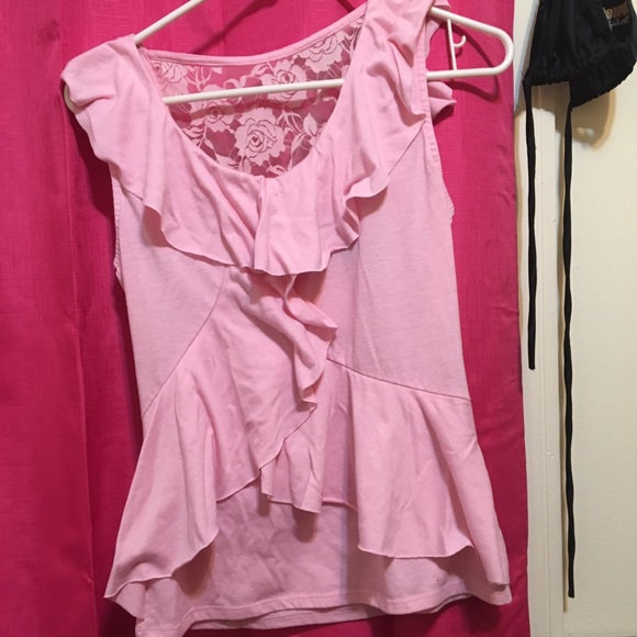 Tops Dressy Pink Blouse With Lace Back Poshmark